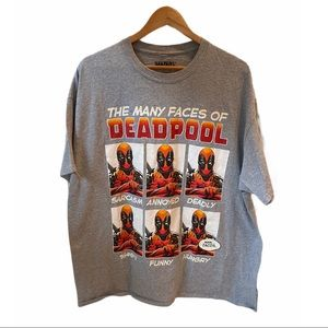 Marvel Deadpool Superhero Faces Gray Shirt 2XL